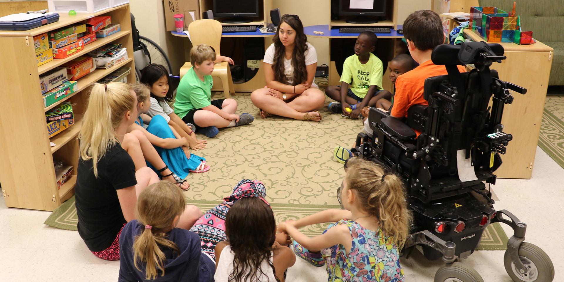 Student teacher in an inclusive classroom
